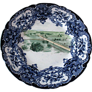 Antique Civil War Era Hand Painted Gettysburg Battlefield Flo Blue Plate