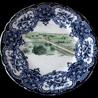 Antique Civil War Era Hand Painted Gettysburg Battlefield Flo Blue Plate