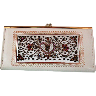 Vintage Hand Brocaded and Beaded Wallet