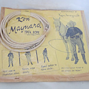 """Vintage Cowboy Trick Rope Toy """"Ken Maynard"""" Circa 1930's"""