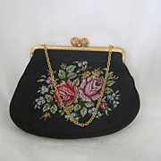 Vintage Silk and Embroidered  Purse Circa 1940's