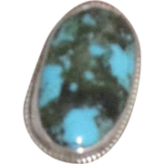 Vintage Navajo Turquoise and Sterling Silver Ring Artist Signed
