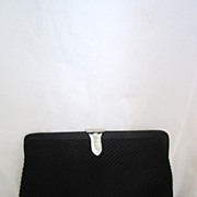 Vintage Black Rhinestone Clutch Purse Circa 1950