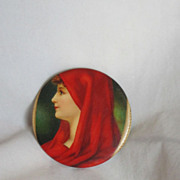 Antique Celluloid Pocket Mirror Woman's Face