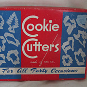 Vintage Circa 1940's One Dozen Metal Cookie Cutters All Occasion Original Box