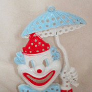 Vintage 1960's Metal Clown Earring Holder