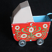 Vintage Tin Lithography Doll Buggy
