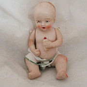 Vintage Bisque Doll and Bottle Circa 1940's