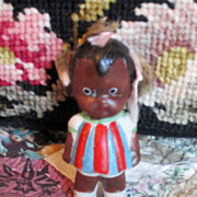 Vintage Black Bisque Doll  Circa 1930's