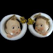 Vintage Pair Of Chalk Ware Babies Circa 1940's