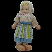 Vintage Unmarked Dutch Cloth Doll Original