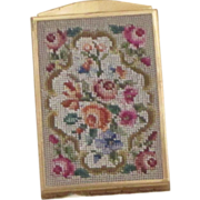 Vintage Brass Needle Point Compact Circa 1940's