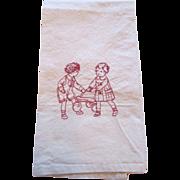 Red Embroidered  Children Muslin  Tea Towel