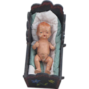 Vintage Handpainted Wooden Doll Cradle and Bisque Doll