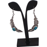 Vintage Navajo Handmade Sterling Silver And Turquoise Dangle Earrings