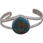 Vintage Navajo Custom Sterling Silver and  Turquoise Bracelet Artist Signed