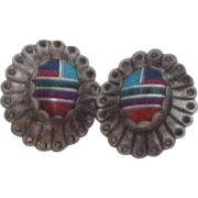 Vintage Zuni Sterling Silver Turquoise, Coral and Lapis Inlaid Earrings