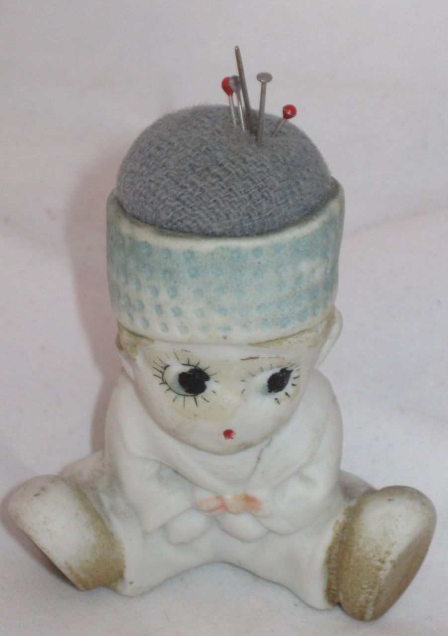 Vintage Sewing  Bisque Doll/ Pincushion Circa 1920