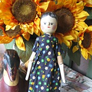 Antique Primitive Wooden German Doll Hand Painted