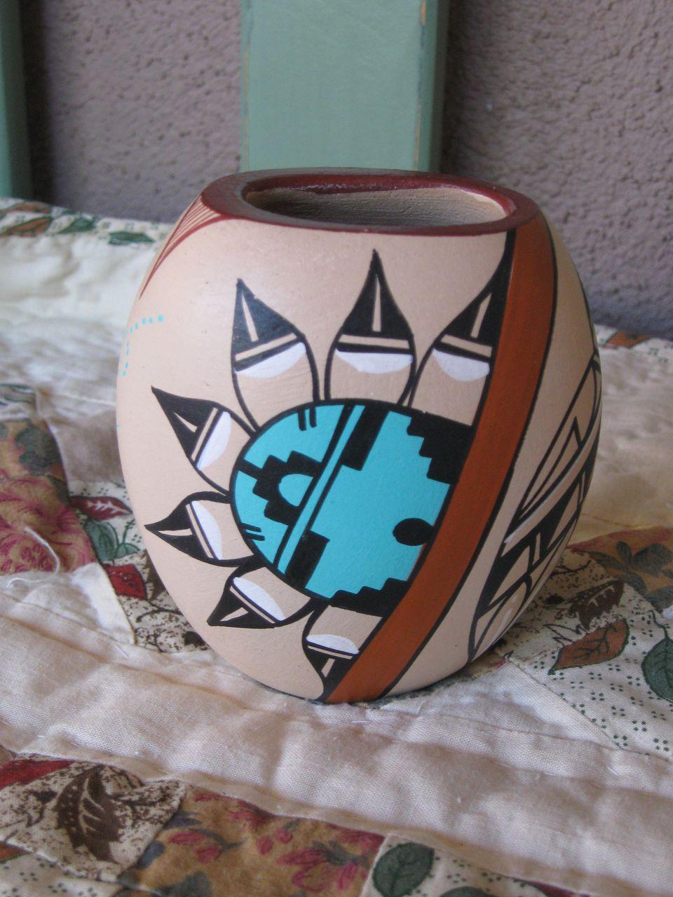 Handmade , Handpainted Hopi Kachina Pot Beautiful