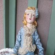 Amazing Vintage All Original 29 inch French Boudoir Doll Circa 1920