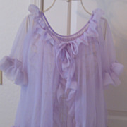 Vintage 1970's See Through Medium Size Lavender Peignoir Night Set SEXY!