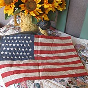 Vintage Primitive 48 Star Flag 16 By 11 1/2 inches Perfect Size