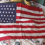 Primitive Vintage Flag 48 Stars 16 1/2  Long x 11 1/2 inches Wide