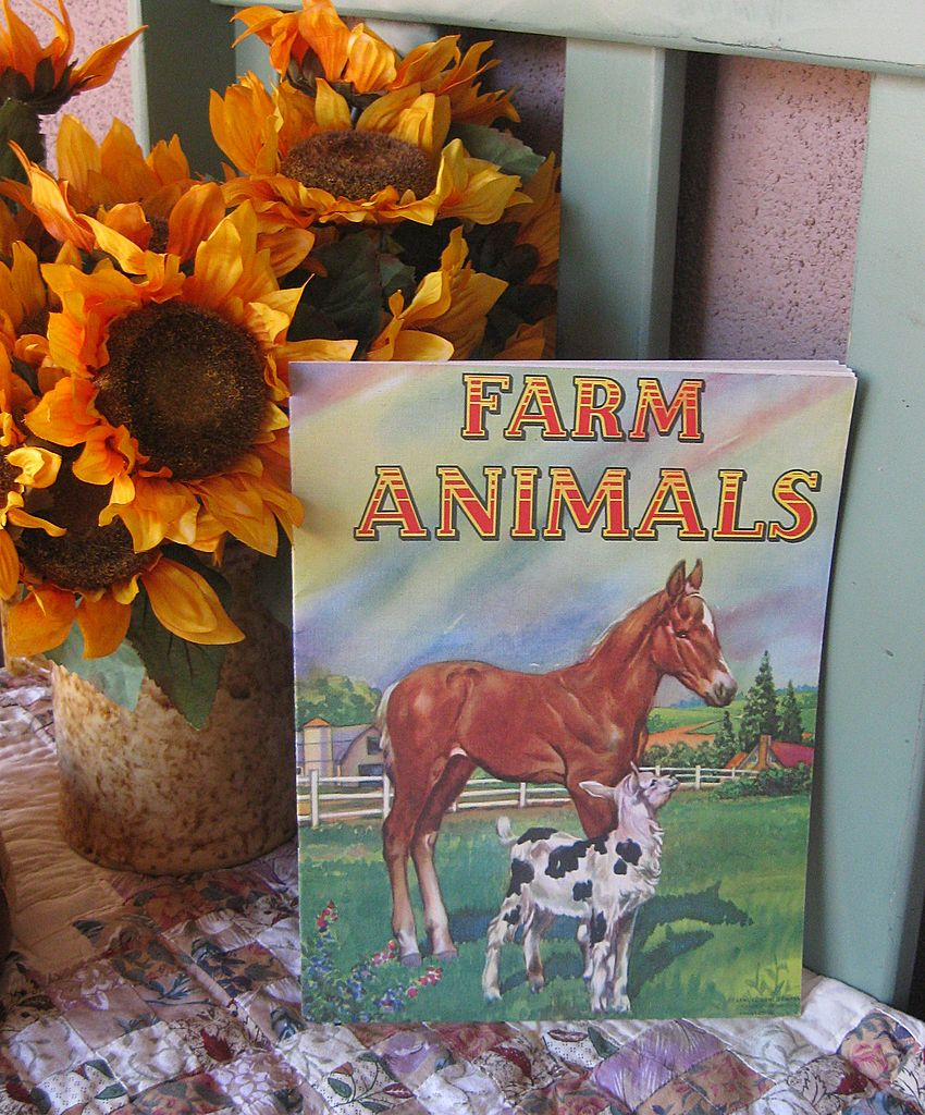 "Vintage Children's Book ""Farm Animals"" AMAZING Art Work Circa 1950's!"
