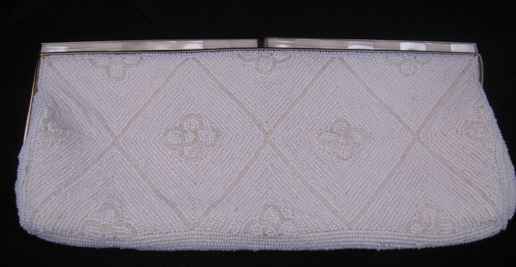 Vintage White Heavily Beaded Mother Of Pearl Purse/ Evening Bag Circa 1950's