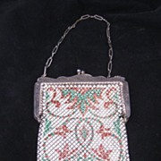 Antique Enamel Mesh Purse Signed Mandalian Mfg. Co.