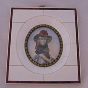 Antique European Decorative  Miniature Portrait Child In Celluloid Frame