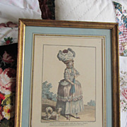 Antique French Fashion Engraving All Original