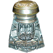 Cut Glass Inkwell with 14K Gold Top