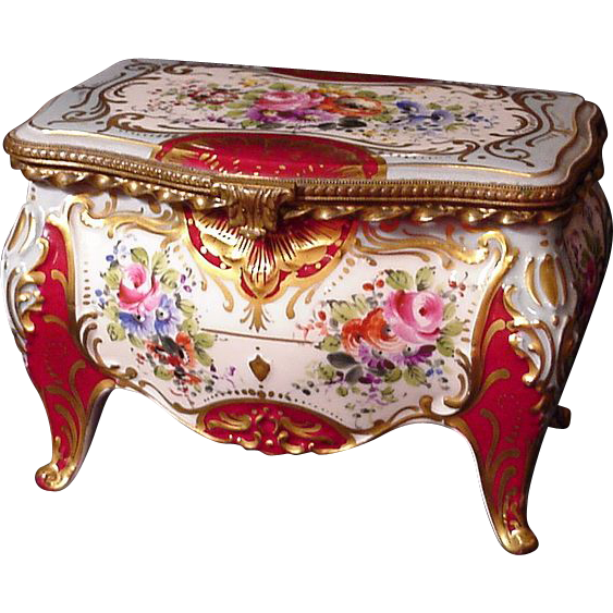 Large French Porcelain Jewelry Casket