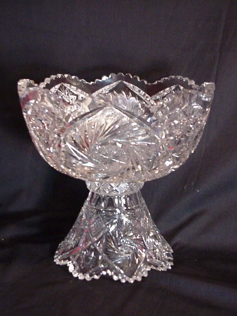 American Brilliant Cut Glass Punch Bowl