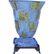 Elegant  Amber Stained Trumpet Vase