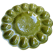 Vintage Deviled Egg Plate from California Pottery in EverGreen Colour