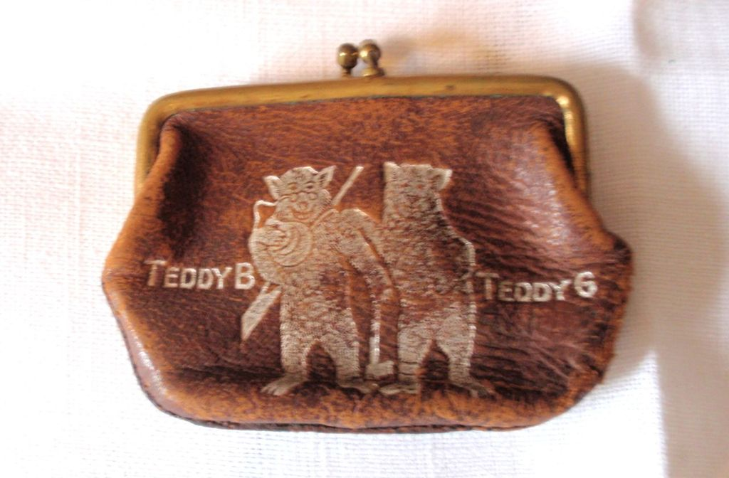 Antique c. 1908 Teddy B & Teddy G Coin Leather Purse