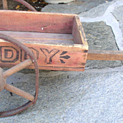 "Antique Original RARE 1900s Toy ""TEDDY"" Wooden Cart"