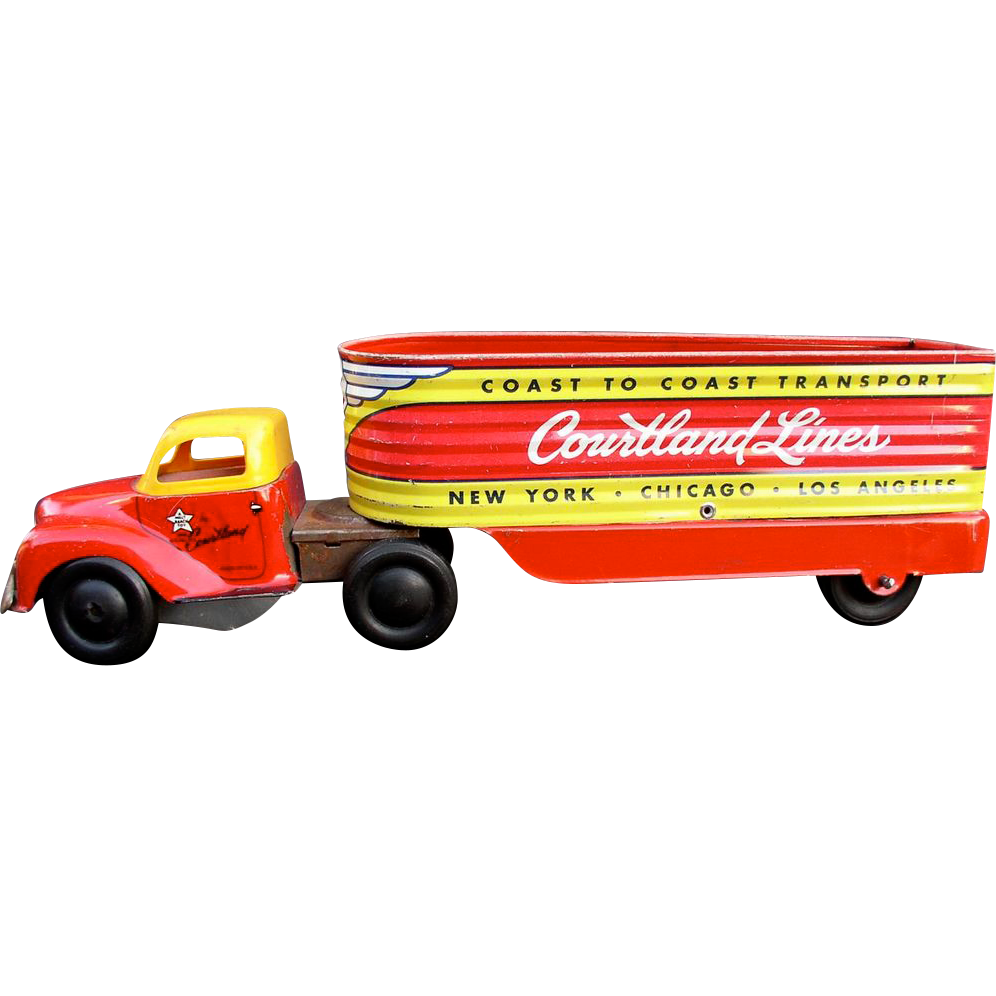Courtland 1950s Tin Windup Trailer Truck