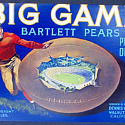 "Football ""Big Game"" '30s Fruit Label Walnet Grove, CA Original"