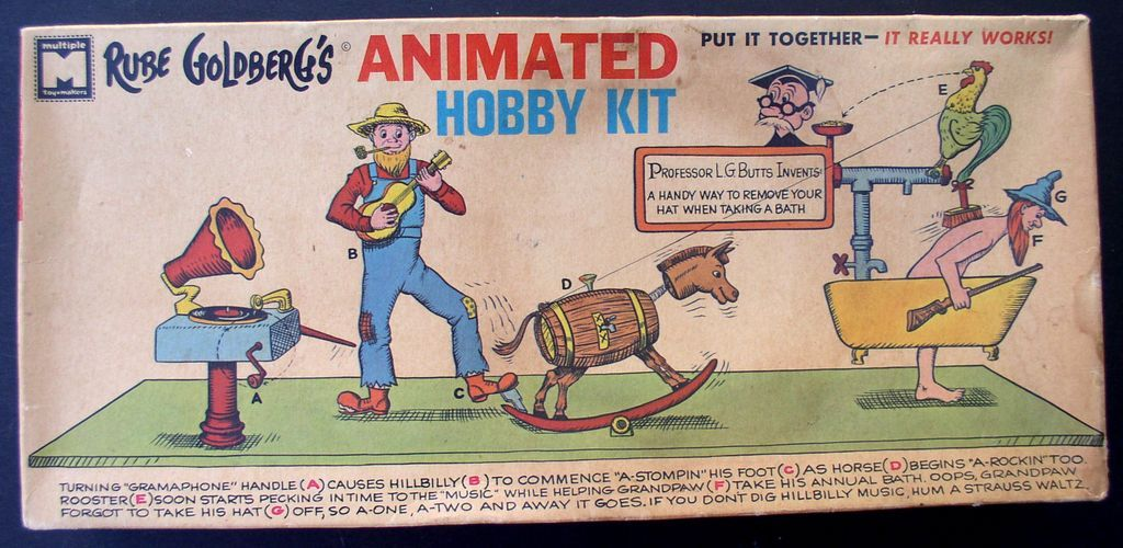"Rube Goldberg ""Back Scrubber & Hat Remover"" 1965 Plastic Model Kit"