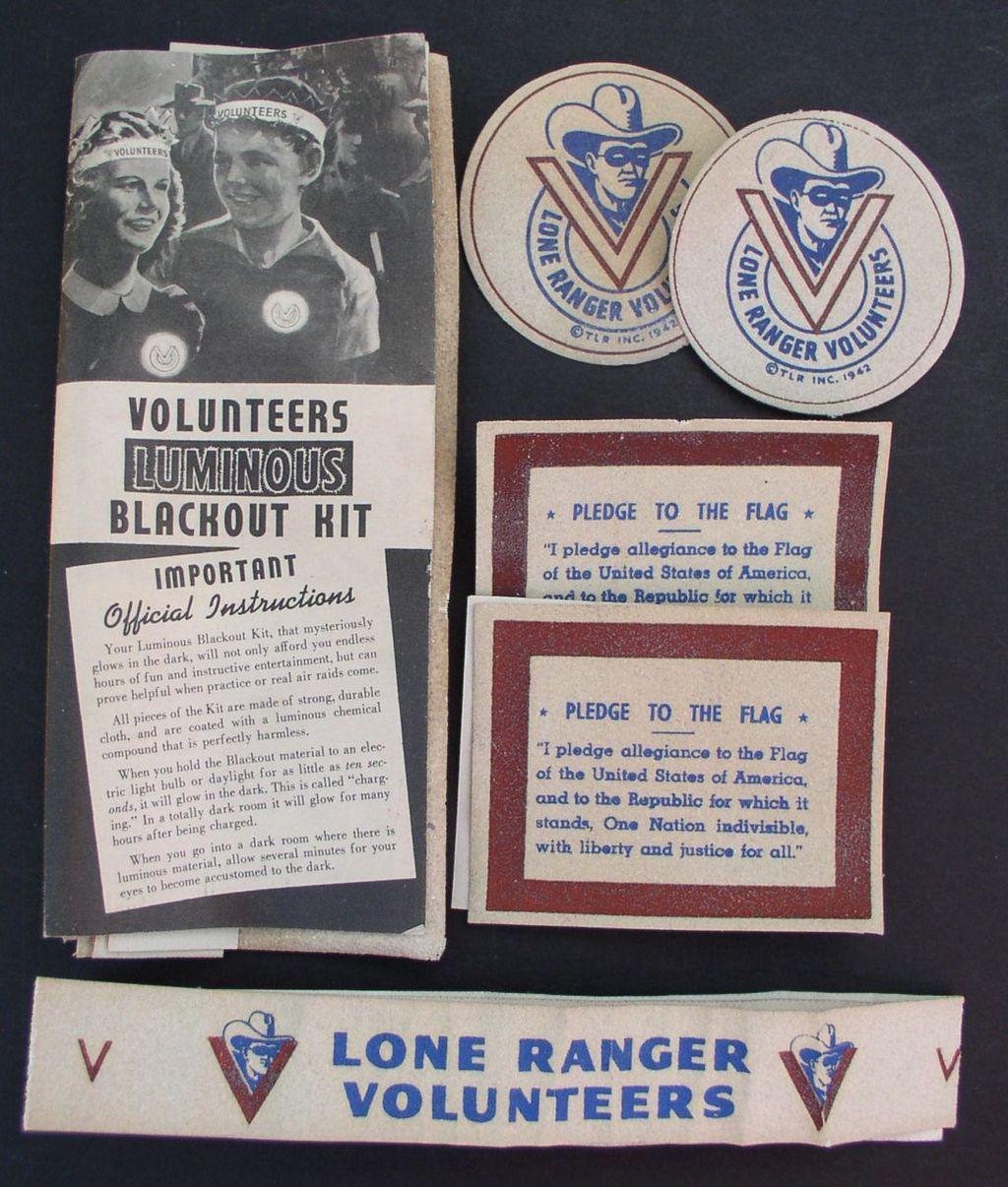Lone Ranger 1942 Luminous Blackout Kit Radio Premium