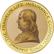 Benjamin Franklin Insurance Co. Tin Litho Tip Tray 1930's