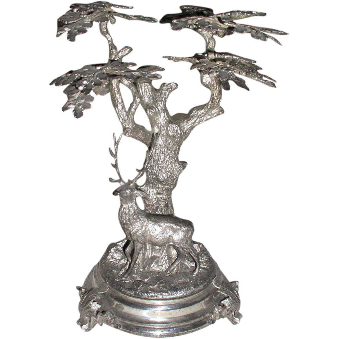 Victorian Era Metal Centerpiece Deer Under a Tree