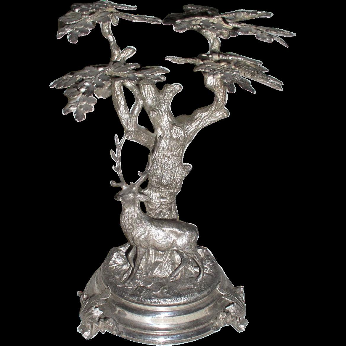 Victorian Era Metal Centerpiece Deer Under a Tree