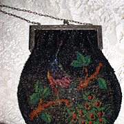 Victorian Era Beaded Purse with a Peacock