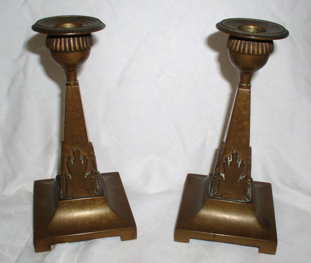 Vintage Art Deco GUSUM Solid Brass Candelsticks