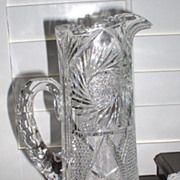 Early American Brilliant Cut Glass Stunning Pitcher